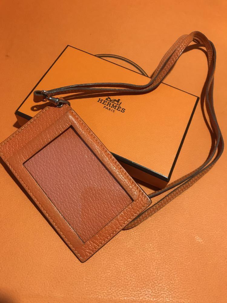 送料225円~!HERMES レザー パスケース パスホルダー カードホルダー オレンジ