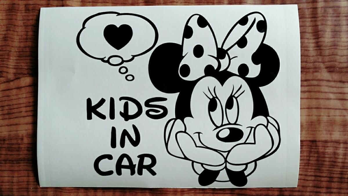 ☆送料無料☆ミニー/カッティングステッカー/オリジナルステッカー/KIDS IN CAR/BABY IN CAR/キッズインカー/ベビーインカー_画像2