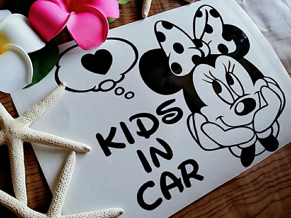 ☆送料無料☆ミニー/カッティングステッカー/オリジナルステッカー/KIDS IN CAR/BABY IN CAR/キッズインカー/ベビーインカー