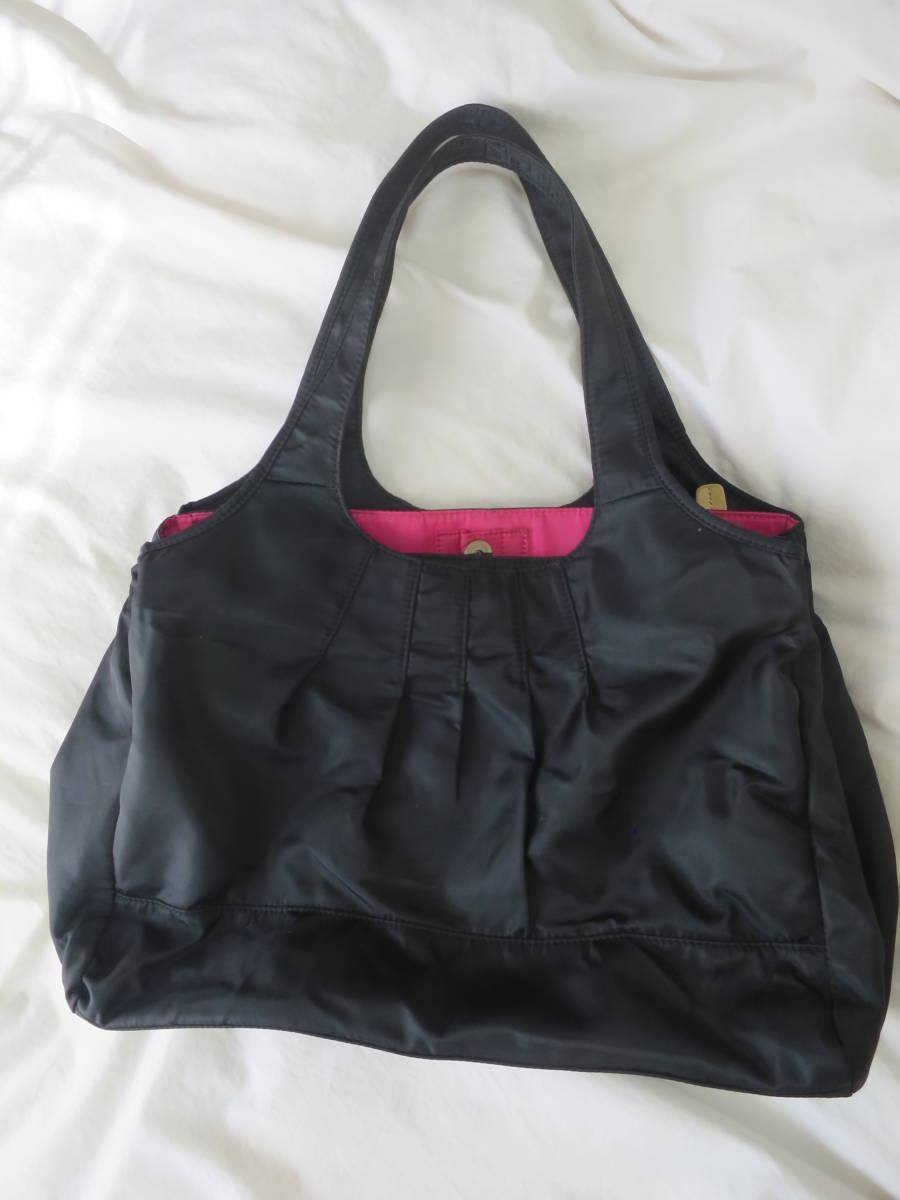 マザーズバッグ 黒×フューシャピンク maman coeur