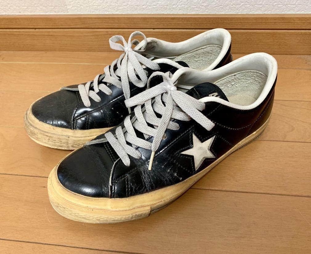 ONE STAR LEATHER◆ワンスターレザー◆ビンテージ◆MADE IN JAPAN/日本製◆ブラック/黒◆US7.0/25.5cm◆検オールスター/ジャックスター