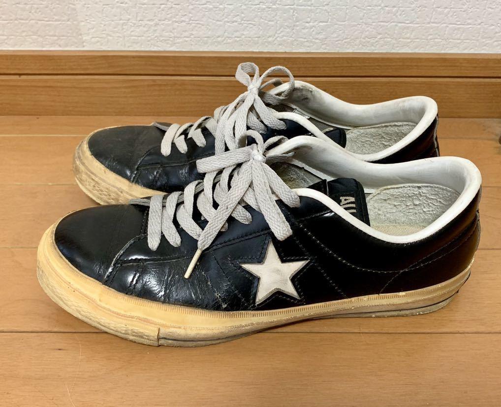 ONE STAR LEATHER◆ワンスターレザー◆ビンテージ◆MADE IN JAPAN/日本製◆ブラック/黒◆US7.0/25.5cm◆検オールスター/ジャックスター_画像2