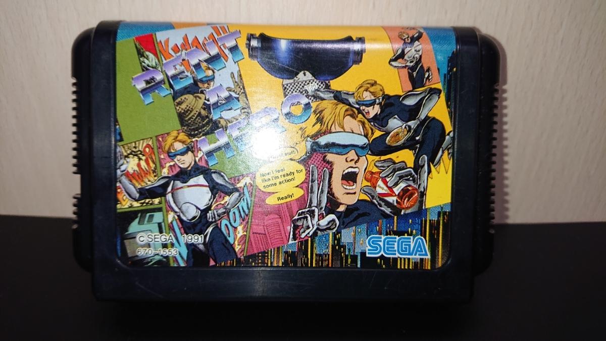 1円~MD「レンタヒーロー」メガドライブソフト 箱、説明書付き。_画像2