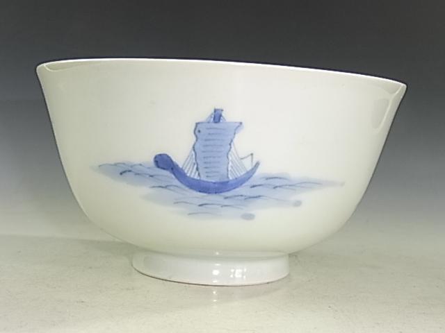 激レア 江戸後期・幕末頃 古伊万里 染付 出島・遠眼鏡人物文 蓋茶碗5客 状態概ね良好_画像8
