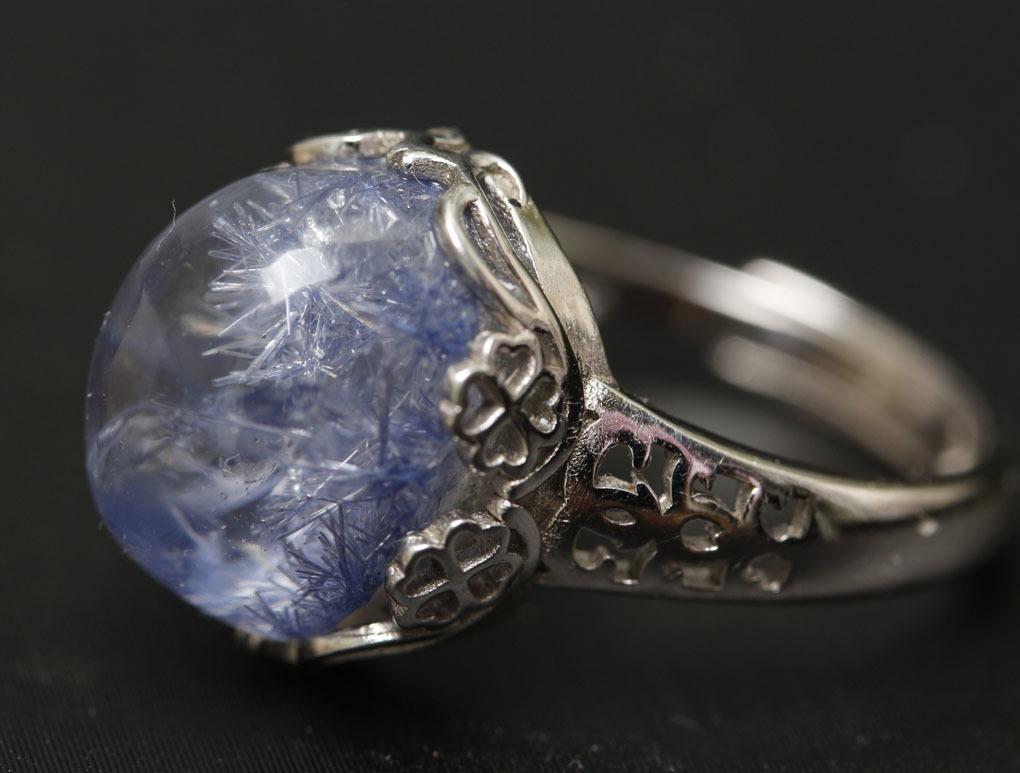【古憶】★写真現物1点限り★デュモルチェライトインクォーツ 指輪Dumortieriteシルバー925 鮮やかな青色の針状結晶 箱入り/lxsjz149_画像4