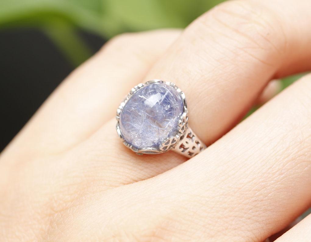 【古憶】★写真現物1点限り★デュモルチェライトインクォーツ 指輪Dumortieriteシルバー925 鮮やかな青色の針状結晶 箱入り/lxsjz149_画像9