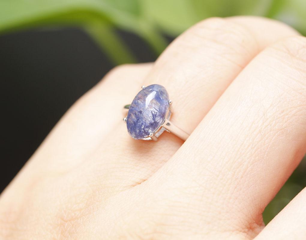 【古憶】★写真現物1点限り★デュモルチェライトインクォーツ 指輪Dumortieriteシルバー925 鮮やかな青色の針状結晶 箱入り/lxsjz146_画像9