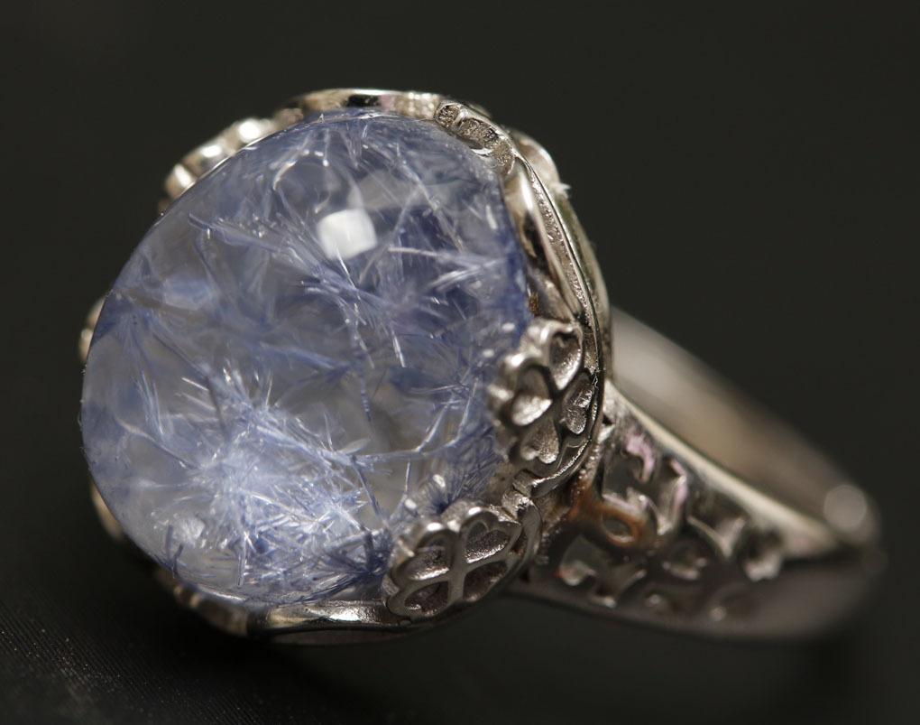 【古憶】★写真現物1点限り★デュモルチェライトインクォーツ 指輪Dumortieriteシルバー925 鮮やかな青色の針状結晶 箱入り/lxsjz149_画像5