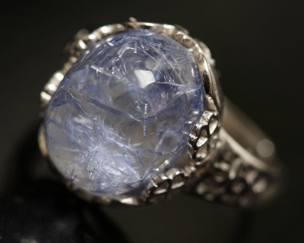 【古憶】★写真現物1点限り★デュモルチェライトインクォーツ 指輪Dumortieriteシルバー925 鮮やかな青色の針状結晶 箱入り/lxsjz149_画像8
