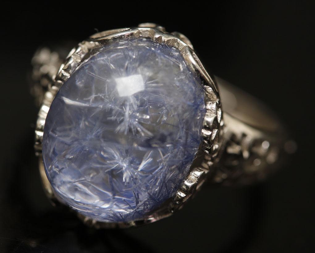 【古憶】★写真現物1点限り★デュモルチェライトインクォーツ 指輪Dumortieriteシルバー925 鮮やかな青色の針状結晶 箱入り/lxsjz149_画像3
