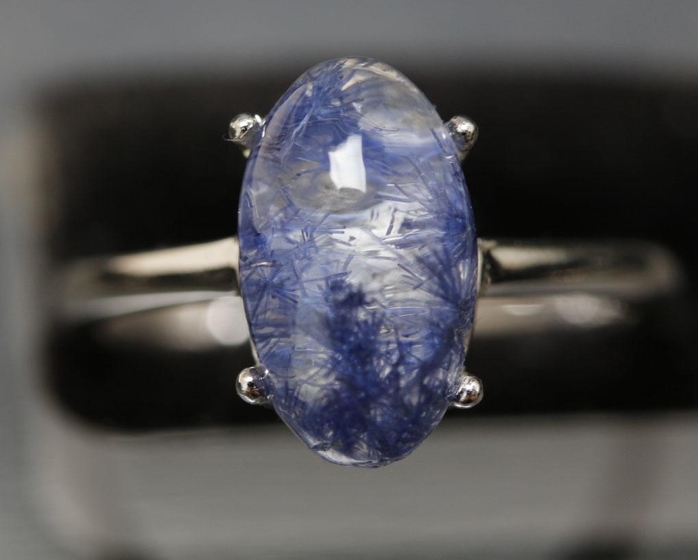 【古憶】★写真現物1点限り★デュモルチェライトインクォーツ 指輪Dumortieriteシルバー925 鮮やかな青色の針状結晶 箱入り/lxsjz146_画像2