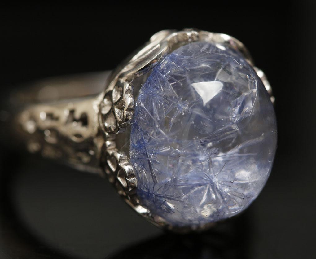 【古憶】★写真現物1点限り★デュモルチェライトインクォーツ 指輪Dumortieriteシルバー925 鮮やかな青色の針状結晶 箱入り/lxsjz149