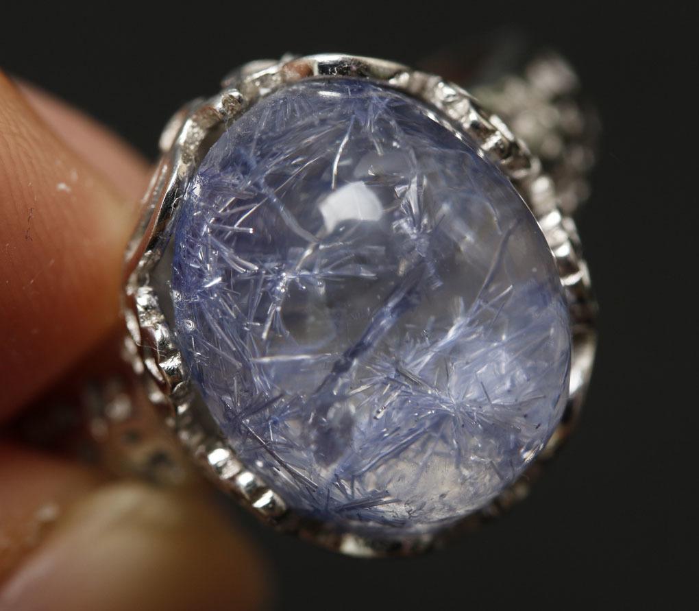 【古憶】★写真現物1点限り★デュモルチェライトインクォーツ 指輪Dumortieriteシルバー925 鮮やかな青色の針状結晶 箱入り/lxsjz149_画像6