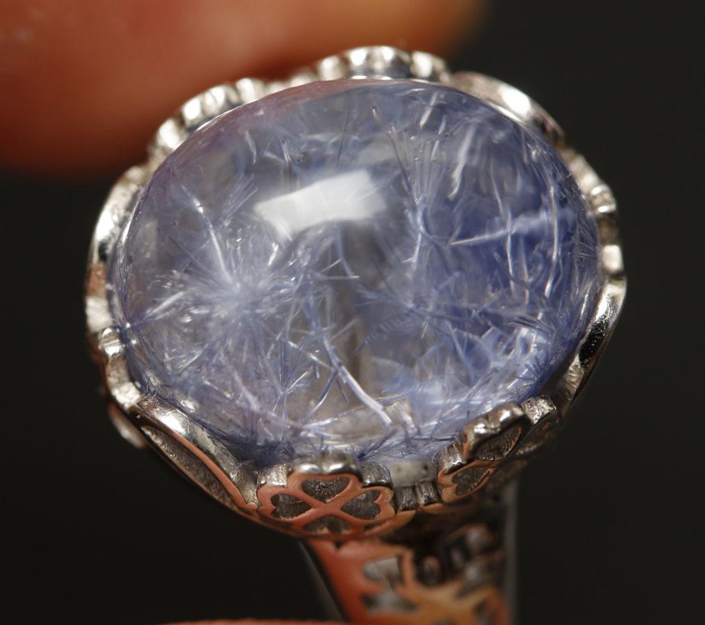 【古憶】★写真現物1点限り★デュモルチェライトインクォーツ 指輪Dumortieriteシルバー925 鮮やかな青色の針状結晶 箱入り/lxsjz149_画像7