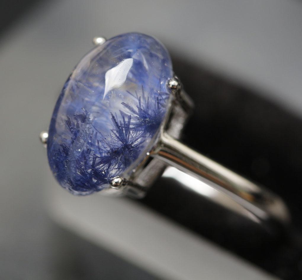 【古憶】★写真現物1点限り★デュモルチェライトインクォーツ 指輪Dumortieriteシルバー925 鮮やかな青色の針状結晶 箱入り/lxsjz146_画像3