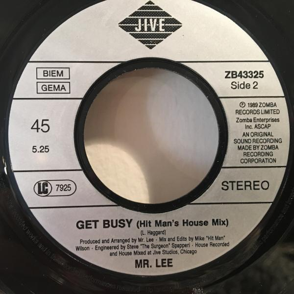 ☆Mr. Lee/Get Busy☆HIP HOUSE CLASSIC!7inch 45_画像3