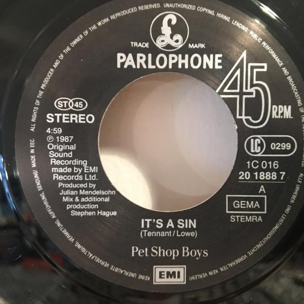 ☆Pet Shop Boys/It's A Sin☆SYNTH POPクラシック!7inch 45_画像2