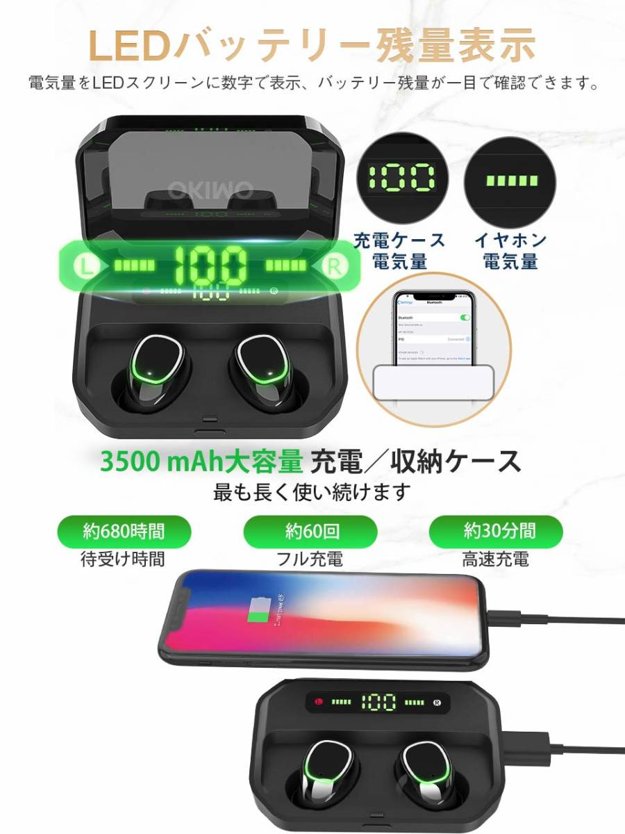 新品●【2019最新版 LEDディスプレイ Bluetooth イヤホン 】 ワイヤレスイヤホン 電池残量インジケーター付き イヤホン Hi-Fi 高音質 Q7284_画像2