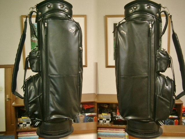 美品 PUMA プーマ レディース 高級タイプ 合皮素材 黒 ゴルフバッグ_画像1