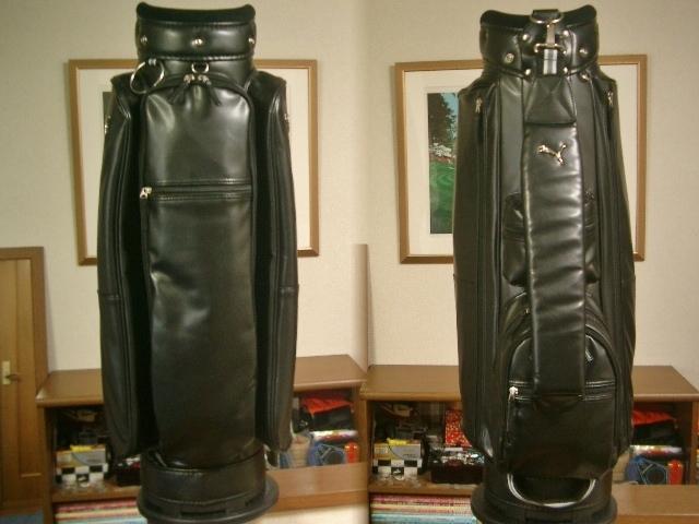 美品 PUMA プーマ レディース 高級タイプ 合皮素材 黒 ゴルフバッグ_画像2