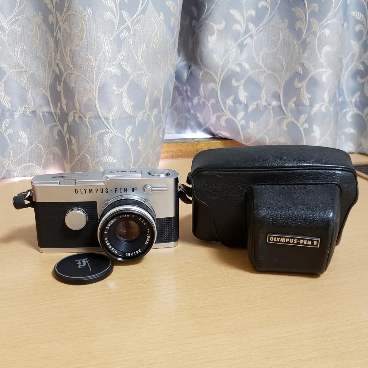 OLYMPUS PEN-FT F.ZUIKO Auto-S 1:1.8 f=38mm オリンパス フイルムカメラ ケース付 中古