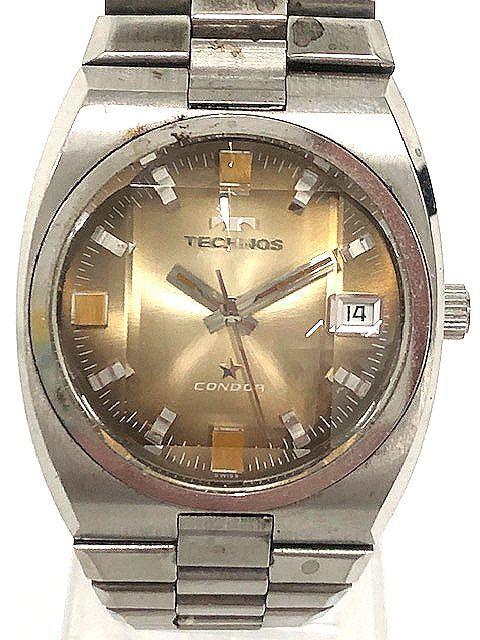 【希少レア】 TECHNOS テクノス CONDOR メンズ腕時計 自動巻き 3針/デイト アンティーク 稼動品 008201-1 m16-22y_画像2
