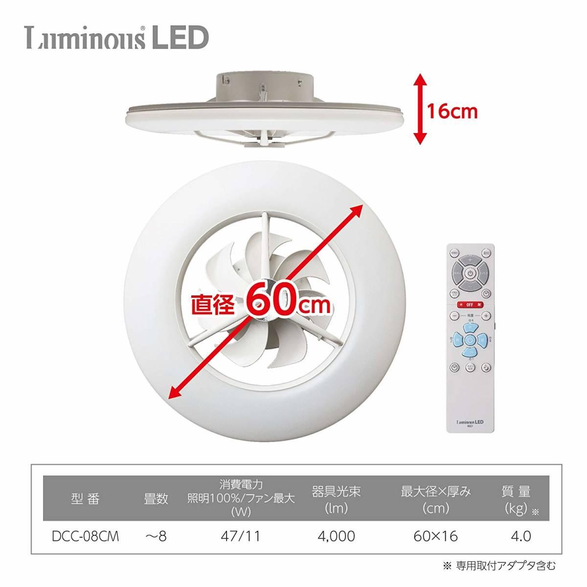 LED シーリングサーキュレーター ルミナス ~8畳 調光調色タイプ 光拡散レンズ搭載 シンプルリモコン付き ACC-08CM154_画像3