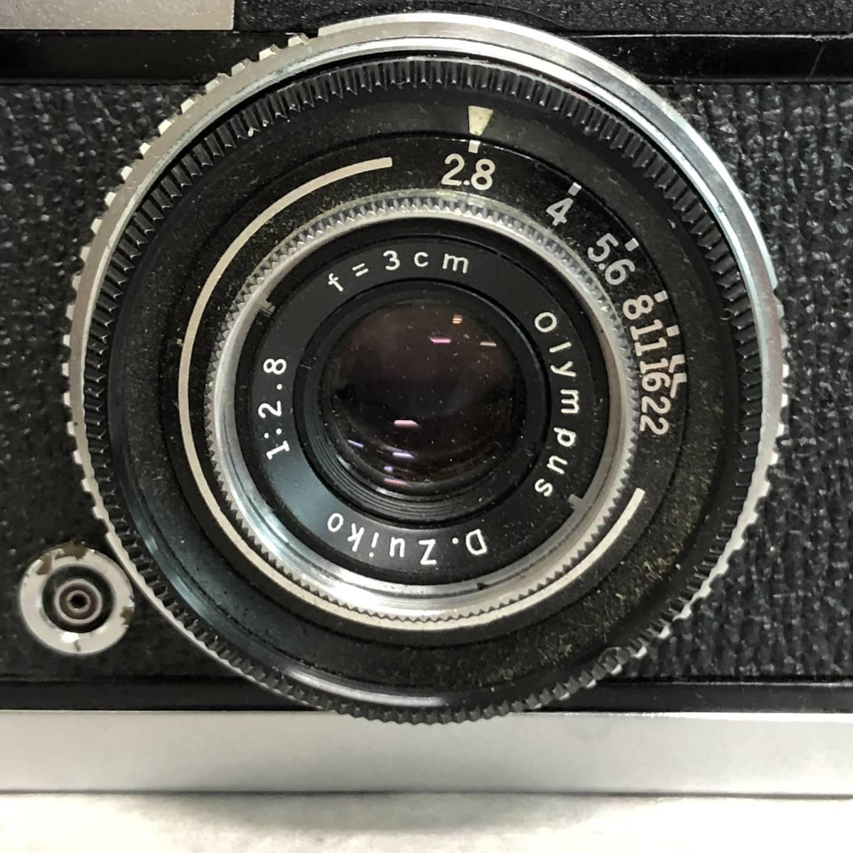 オリンパス PEN-S カメラ D.Zuiko 1:2.8 f=3cm 説明証 ケース 箱付 動作未確認 ジャンク品_画像8