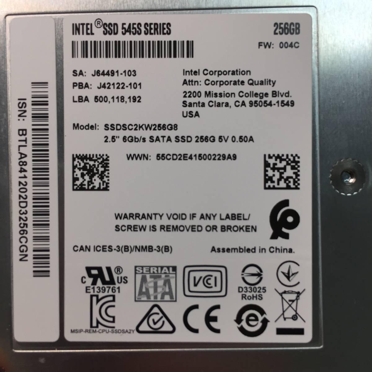 使用時間少 Intel 545s 256GB SSD SATA 64層 3D NAND 256GB _画像3