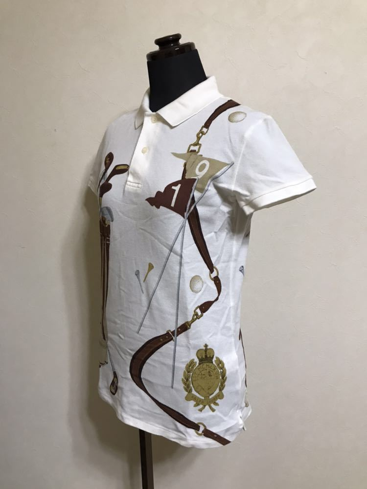 【美品】 Polo Ralph Lauren Golf ポロ ラルフローレン ゴルフ ウェア グラフィック レディース ポロシャツ サイズS 半袖 白 45436034_画像8