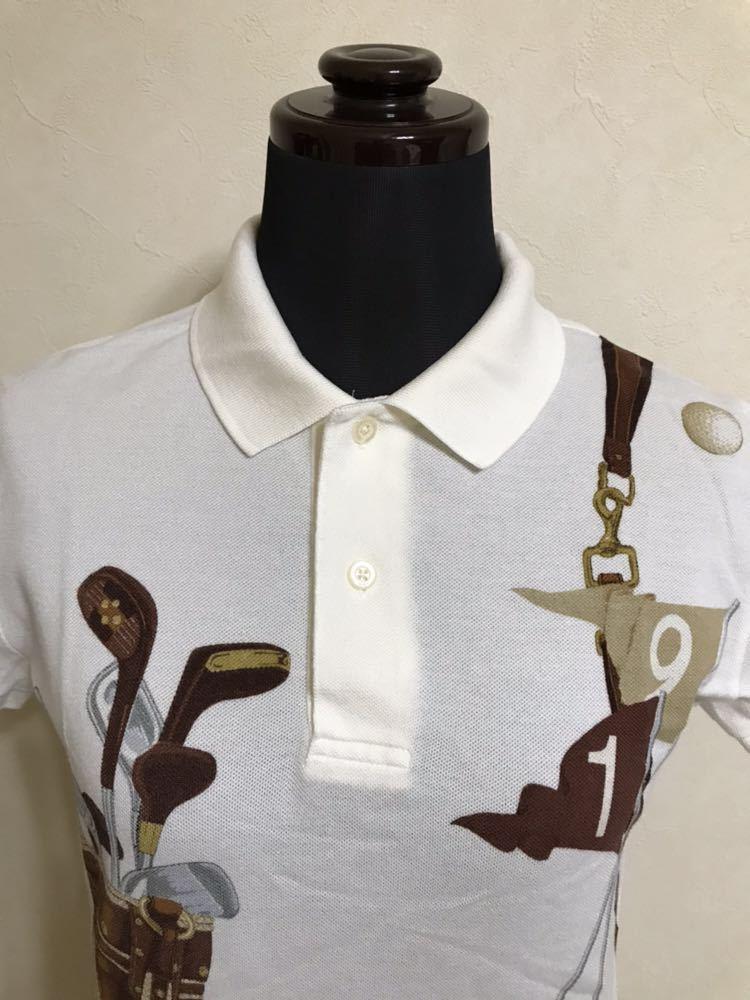 【美品】 Polo Ralph Lauren Golf ポロ ラルフローレン ゴルフ ウェア グラフィック レディース ポロシャツ サイズS 半袖 白 45436034_画像3
