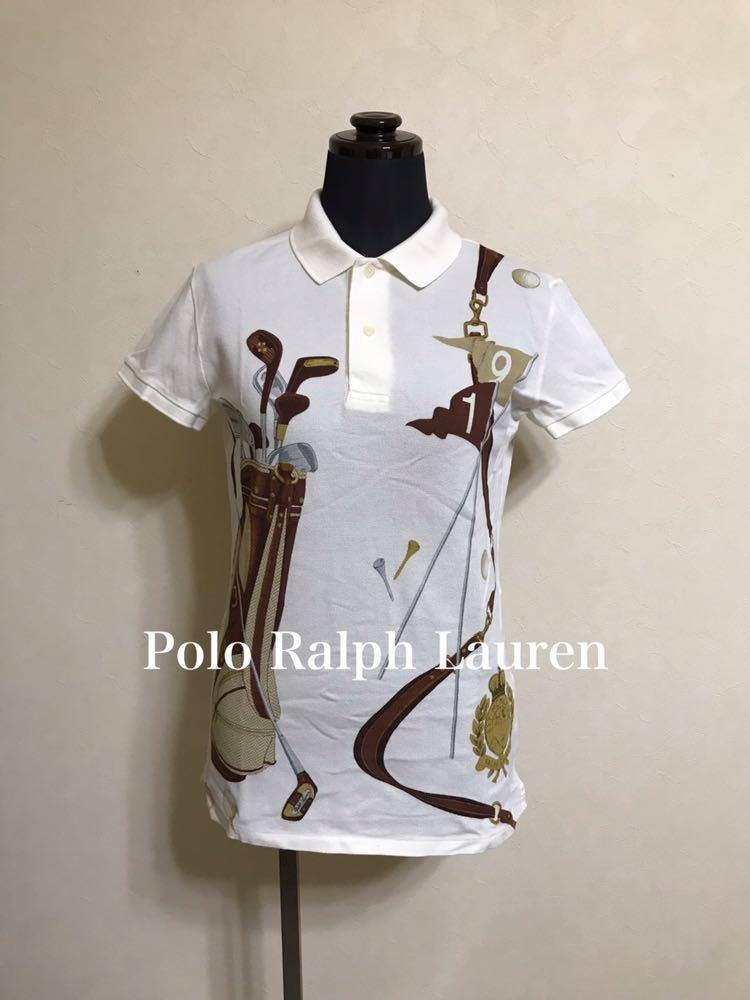 【美品】 Polo Ralph Lauren Golf ポロ ラルフローレン ゴルフ ウェア グラフィック レディース ポロシャツ サイズS 半袖 白 45436034_画像1
