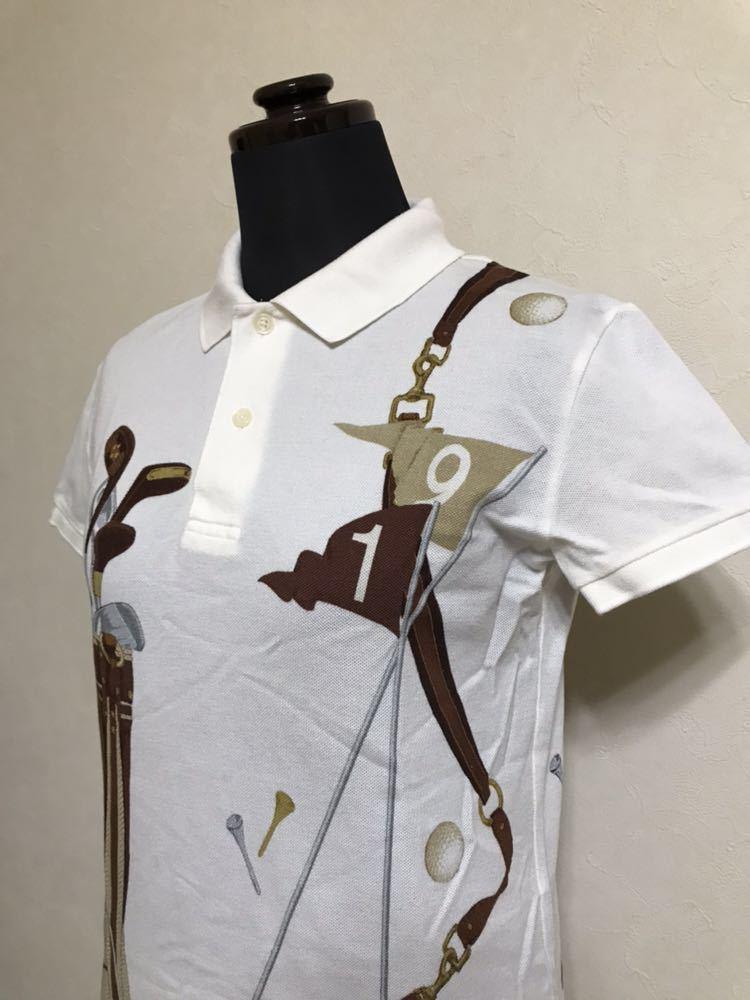 【美品】 Polo Ralph Lauren Golf ポロ ラルフローレン ゴルフ ウェア グラフィック レディース ポロシャツ サイズS 半袖 白 45436034_画像6