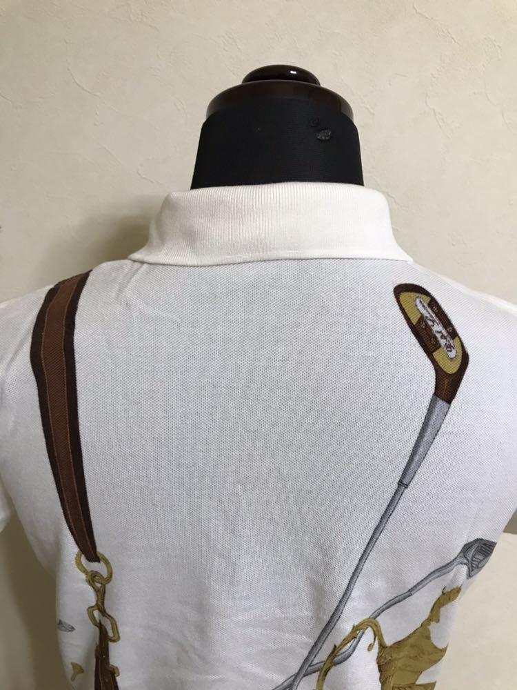 【美品】 Polo Ralph Lauren Golf ポロ ラルフローレン ゴルフ ウェア グラフィック レディース ポロシャツ サイズS 半袖 白 45436034_画像4