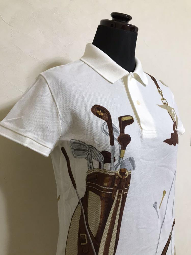 【美品】 Polo Ralph Lauren Golf ポロ ラルフローレン ゴルフ ウェア グラフィック レディース ポロシャツ サイズS 半袖 白 45436034_画像7