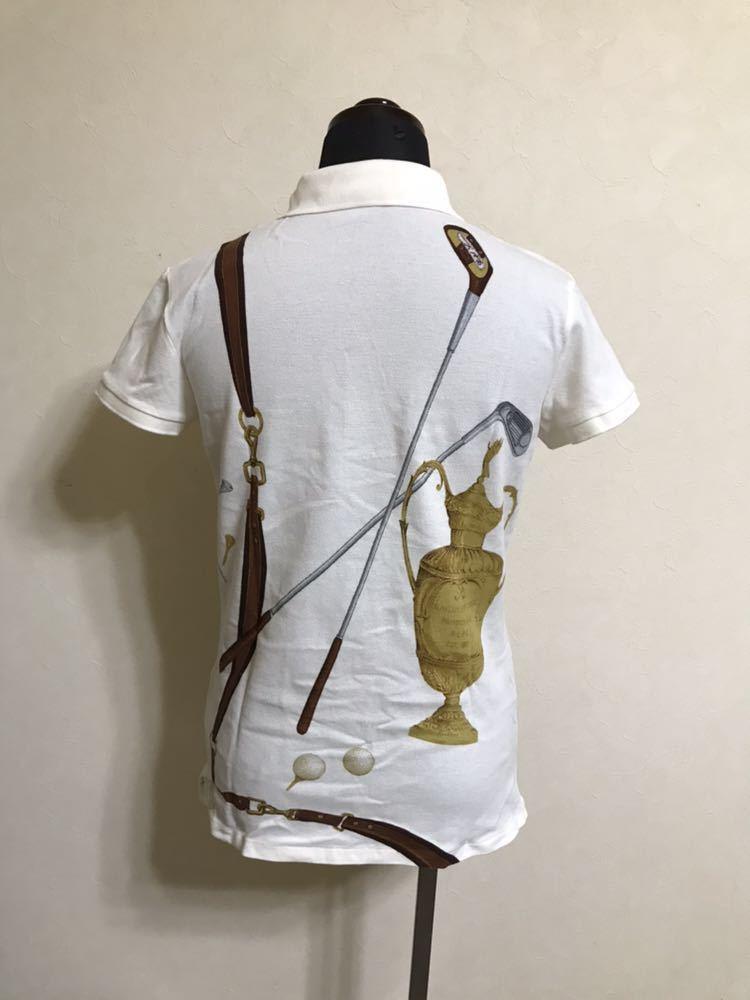 【美品】 Polo Ralph Lauren Golf ポロ ラルフローレン ゴルフ ウェア グラフィック レディース ポロシャツ サイズS 半袖 白 45436034_画像2