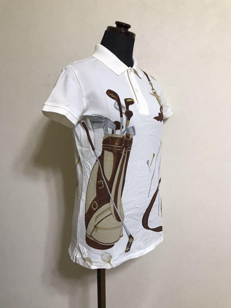 【美品】 Polo Ralph Lauren Golf ポロ ラルフローレン ゴルフ ウェア グラフィック レディース ポロシャツ サイズS 半袖 白 45436034_画像9