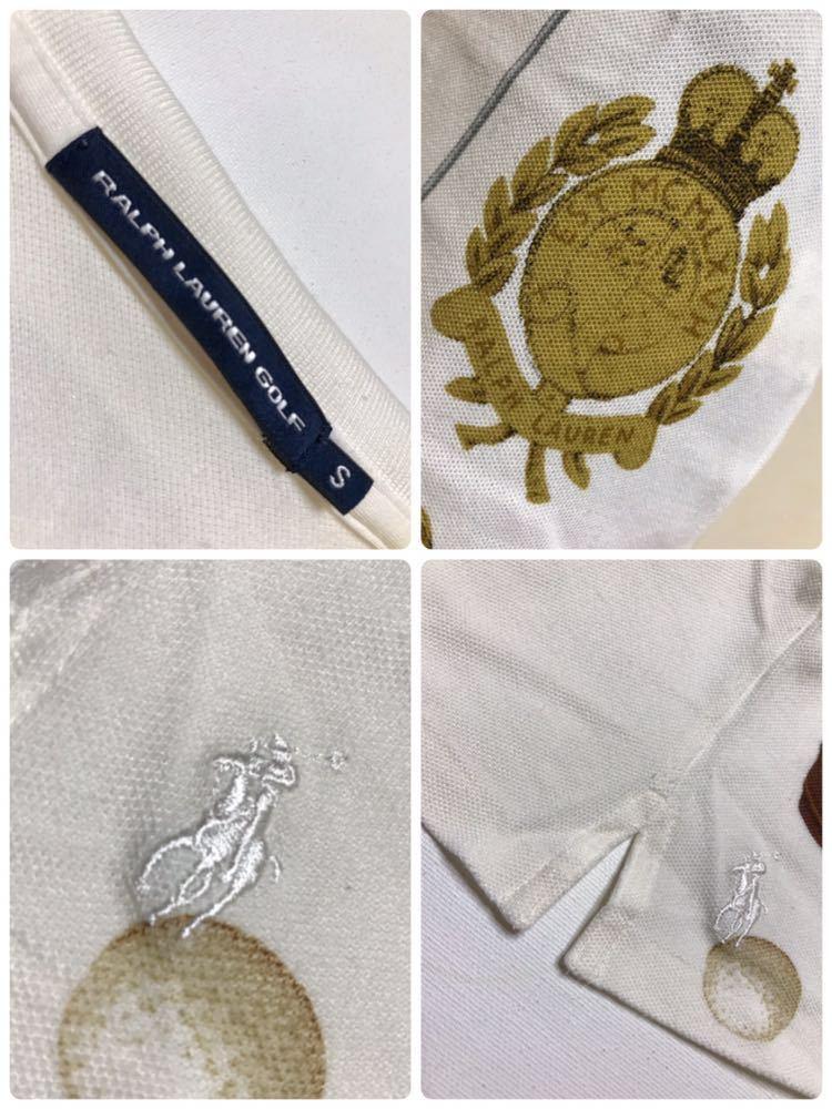【美品】 Polo Ralph Lauren Golf ポロ ラルフローレン ゴルフ ウェア グラフィック レディース ポロシャツ サイズS 半袖 白 45436034_画像5