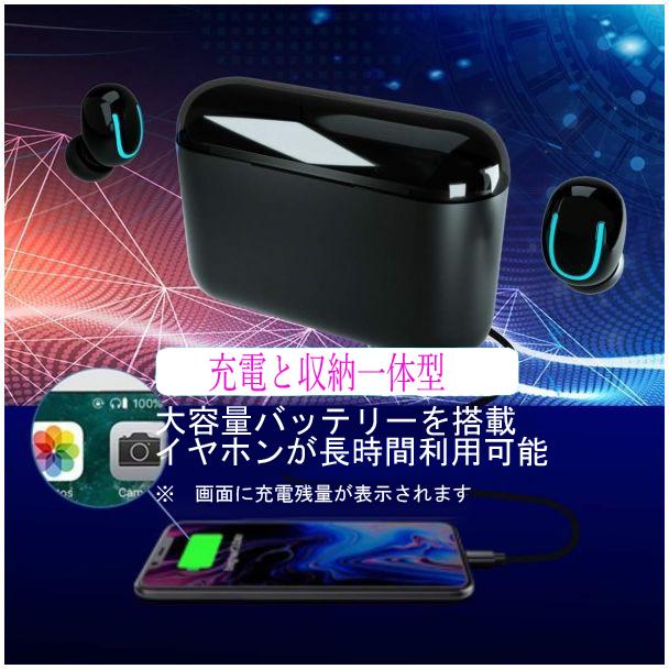 【HBQ】Bluetooth5.0 HIFI 完全ワイヤレス 大容量 充電式 高音質 両耳 極軽 左右分離型 ハンズフリー イヤホン 多機能 _画像4