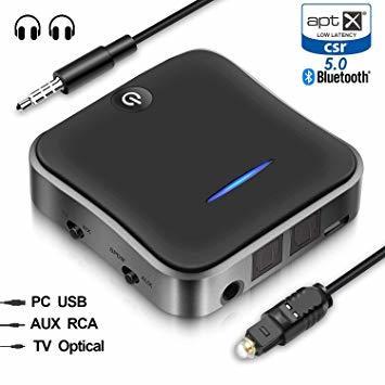 新品● WSKY Bluetooth 5.0 トランスミッター レシーバー 受信機 送信機 一台二役 aptX HD aptX LL対応 2台同時接続 高音質 低遅延 U7132