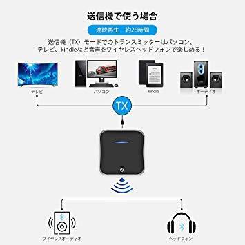 新品● WSKY Bluetooth 5.0 トランスミッター レシーバー 受信機 送信機 一台二役 aptX HD aptX LL対応 2台同時接続 高音質 低遅延 U7132_画像3
