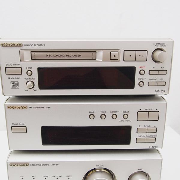 【1円~】ONKYO システムコンポ MD-105/C-707CH/T-405W/A-909 通電確認のみ 日本製 ED15_画像2