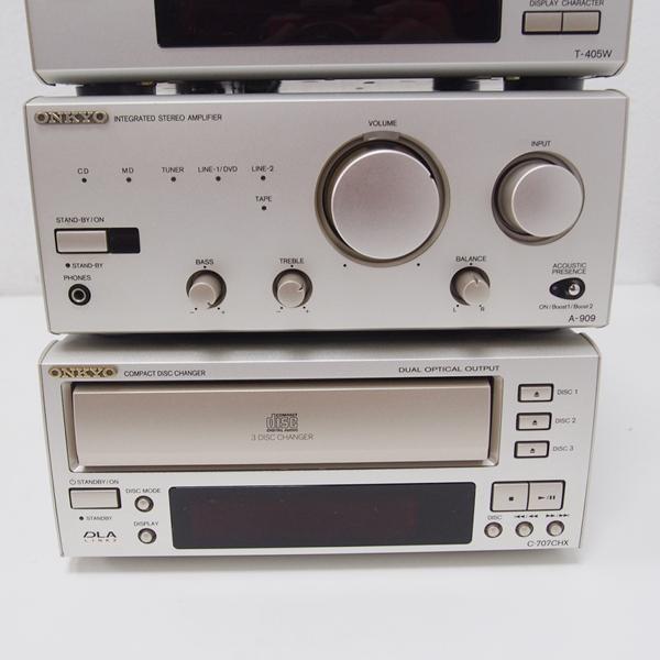 【1円~】ONKYO システムコンポ MD-105/C-707CH/T-405W/A-909 通電確認のみ 日本製 ED15_画像3