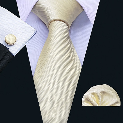ネクタイ チーフ タイピン カフス 4点 セット 新品 シルク100% メンズ レギュラータイ シャンパンゴールド ストライプ _画像2