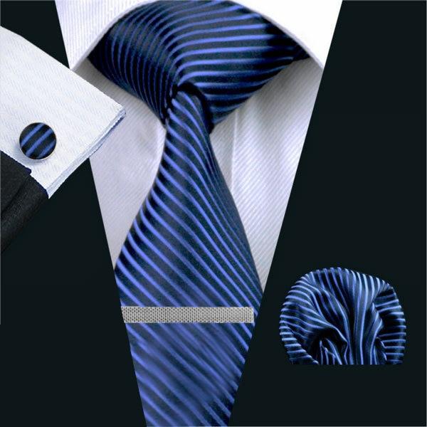 ネクタイ 4点セット ポケットチーフ カフスボタン タイピン 紺/青ストライブ 新品 送料込み プレゼント_画像1