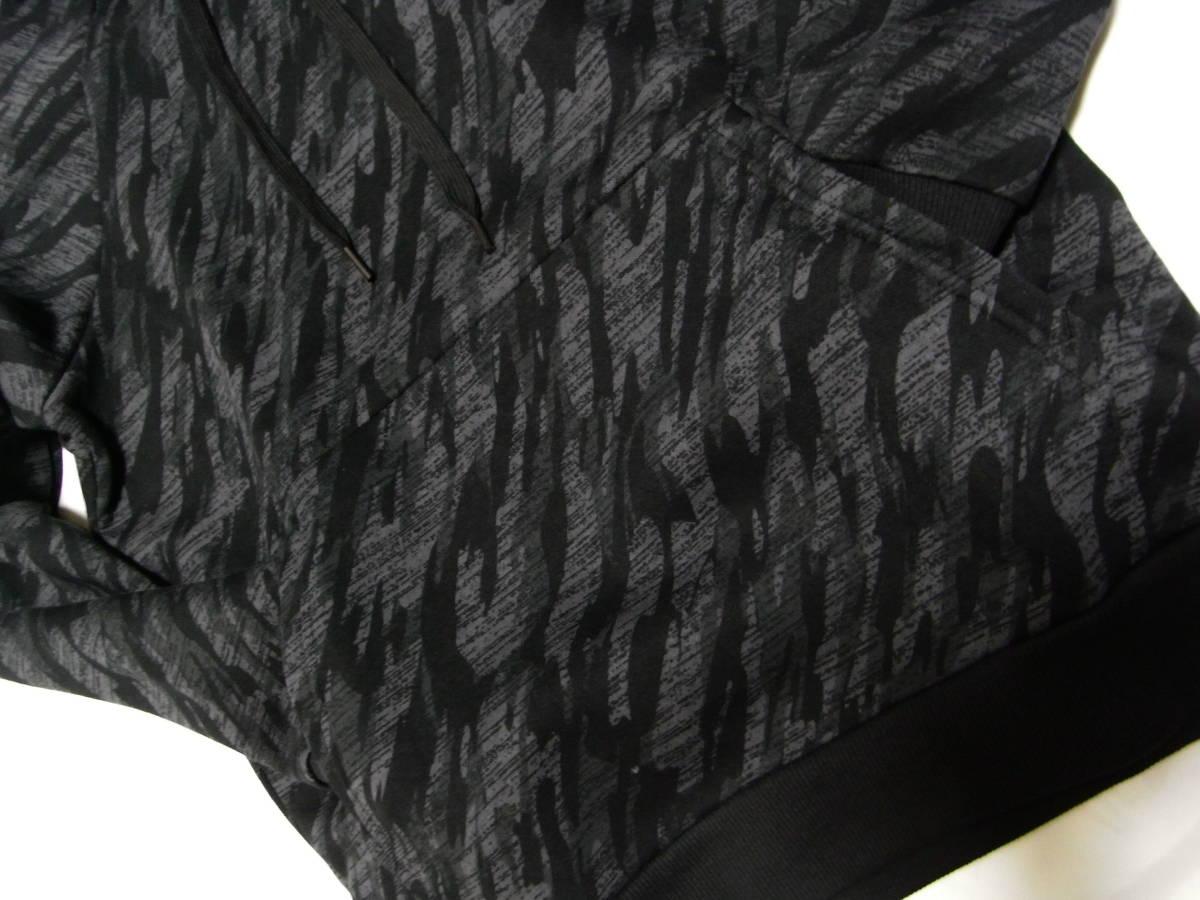 新品 XL O アンダーアーマー UNDER ARMOUR スウェット カモフラ 迷彩 黒 上下セット カモ メンズ ジャージ ブラック パーカー 本物 正規品_画像7