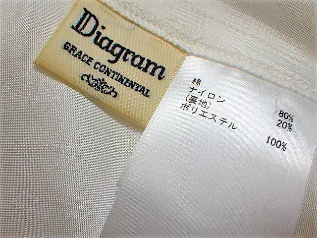 Diagram ダイアグラム レーススカート レース コットン 花柄 フラワー 綿 WHITE 白 スカート フリンジ SKIRT 36 レディース _画像5