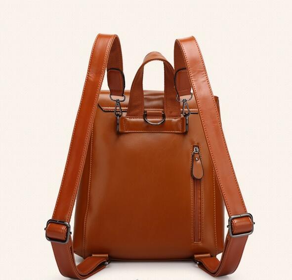 リュックサック デイパック大容量 レディース 肩掛け 斜め掛け バッグ PUレザー 多機能 ブラウン ショルダーバッグ 鞄 防水 超高品質_画像4