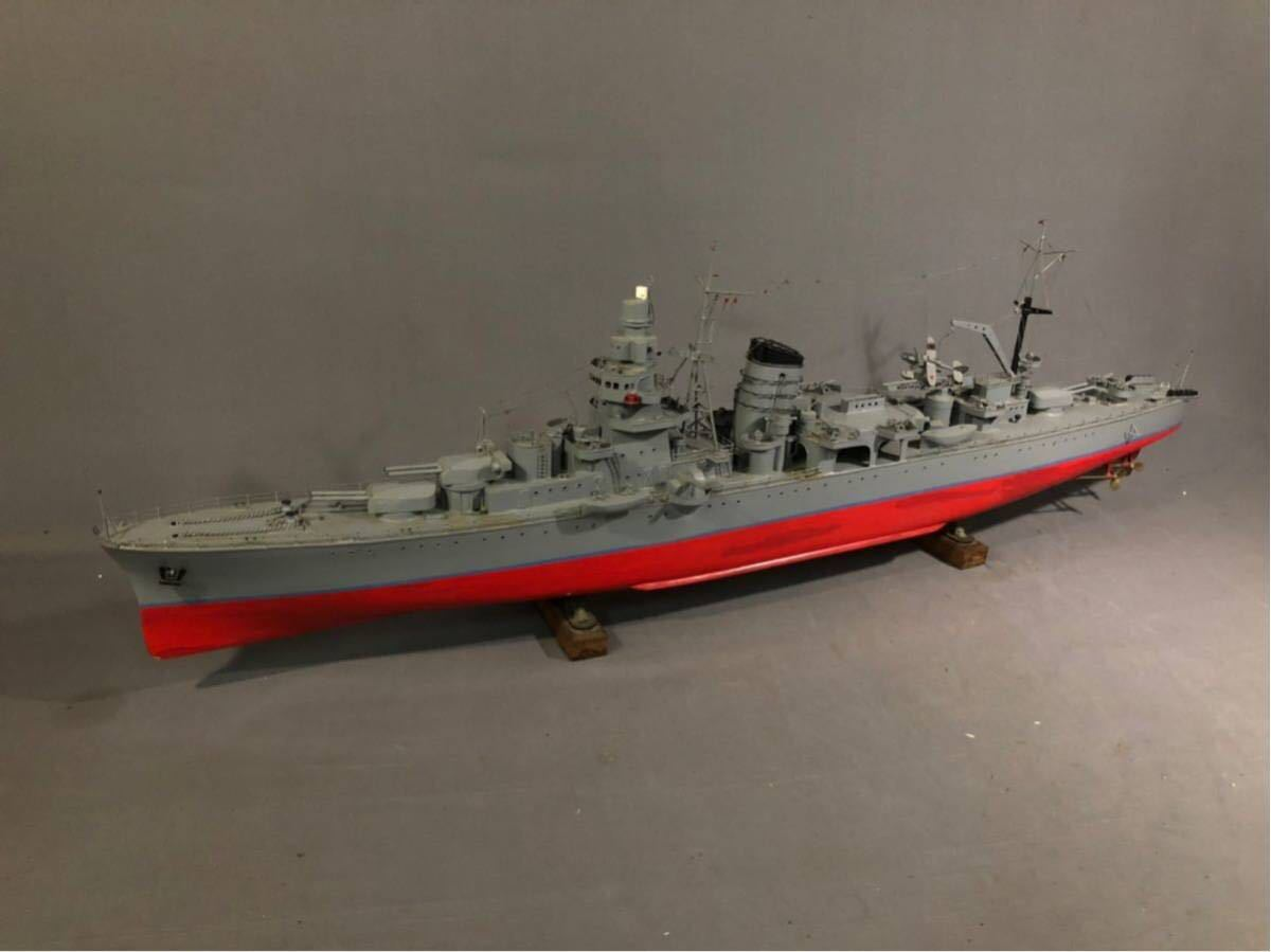 軍艦 模型 超特大 戦艦 金属製 木製 置物 矢矧 戦艦大和 軽巡洋艦 インテリア アンティーク 船 完成品 極上品 迫力 130㎝ 大日本帝国 海軍