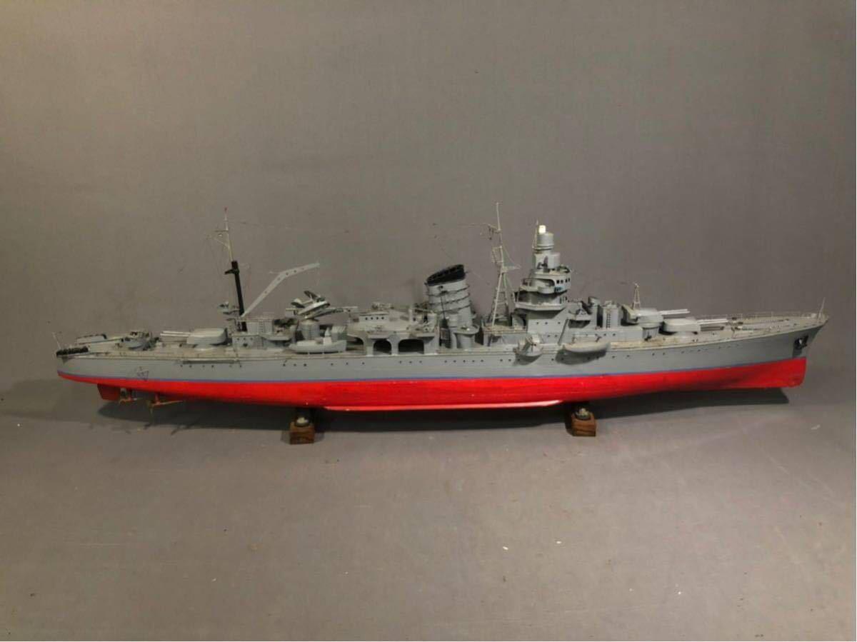 軍艦 模型 超特大 戦艦 金属製 木製 置物 矢矧 戦艦大和 軽巡洋艦 インテリア アンティーク 船 完成品 極上品 迫力 130㎝ 大日本帝国 海軍_画像3